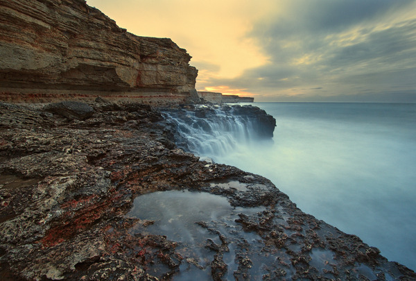 Artem Nosenko: waterfall water sea waves sun clouds