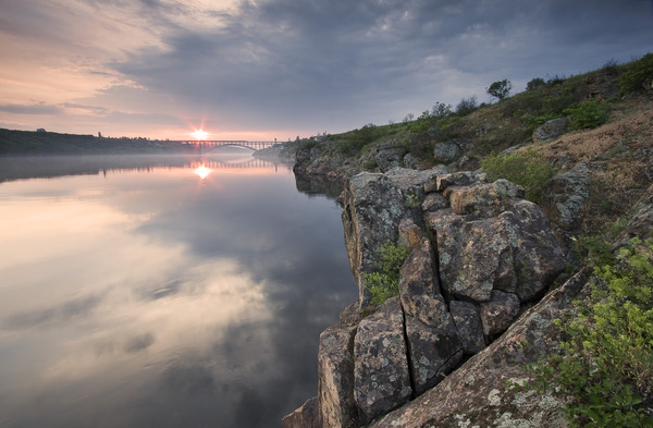Artem Nosenko: bridge sun river rock hill nature