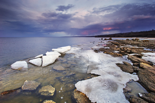 Artem Nosenko: ice stones water rocks shore nature