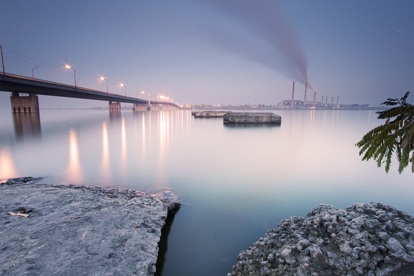 Artem Nosenko: city bridge lights smoke water river construction factory