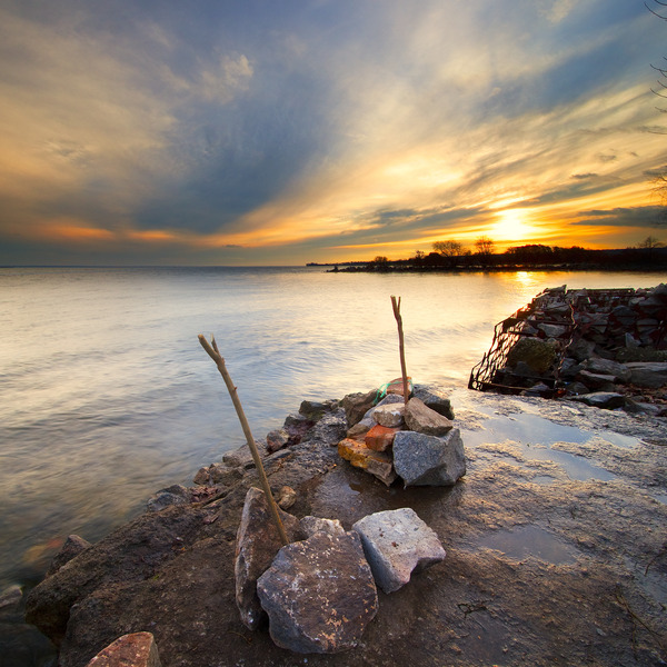 Artem Nosenko: construction water stones rocks shore sun sky clouds trees nature